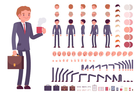 Businessman character creation set. Build your own design. Cartoon vector flat-style infographic illustration Vettoriali