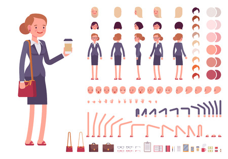 Businesswoman character creation set. Build your own design. Cartoon vector flat-style infographic illustration Zdjęcie Seryjne - 64576734