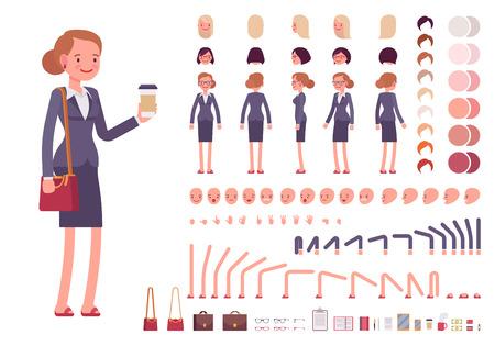 establece la creación del personaje de la empresaria. Construir su propio diseño. vector de dibujos animados al estilo de ilustración plana infografía Ilustración de vector