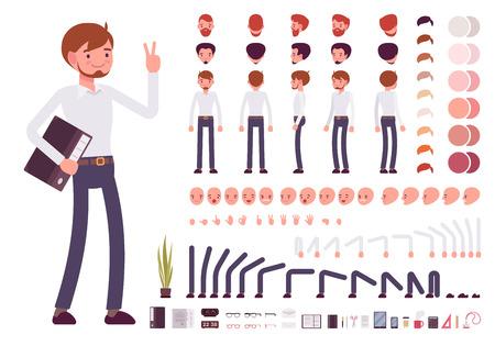 Mannelijke bediende het creëren van karakters in te stellen. Bouw je eigen ontwerp. Cartoon vector flat-stijl infographic illustratie