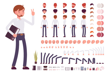 Male clerk character creation set. Build your own design. Cartoon vector flat-style infographic illustration Vettoriali