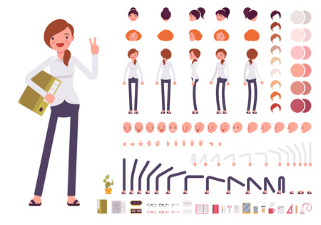 body skin: Female clerk character creation set. Build your own design. Cartoon vector flat-style infographic illustration