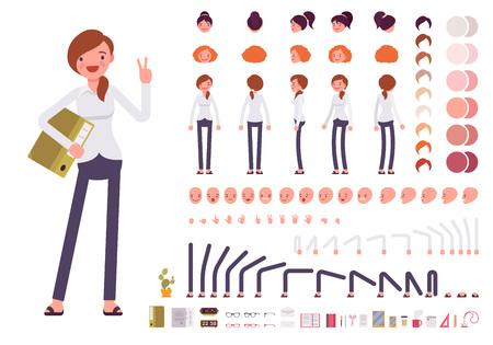 Set la creazione del personaggio impiegato femminile. Costruire il proprio disegno. Cartoon vettore piatto in stile illustrazione infografica Archivio Fotografico - 64576738