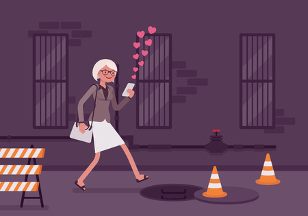 hook like: Woman walks with a smartphone to fall into a manhole. Cartoon vector flat-style concept illustration