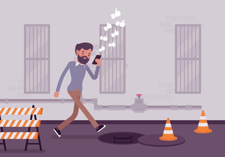 dangers: Man walkis with smartphone to fall into a manhole. Cartoon vector flat-style concept illustration Illustration