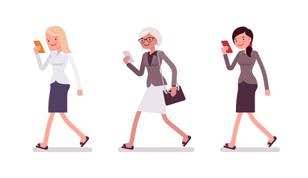 ignore: Three women are walking holding a smartphone. Cartoon vector flat-style illustration
