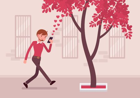 Man walks with smartphone to bump into a tree. Cartoon vector flat-style concept illustration Illustration