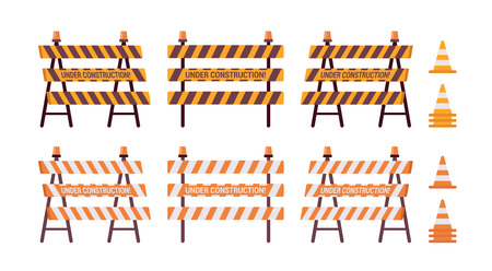 stockade: Set of roadblock with light and cone isolated against the white background. Cartoon vector flat-style illustration
