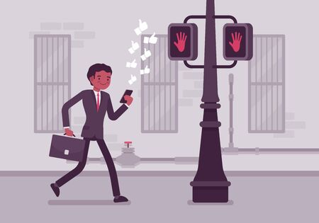 ignore: Man walks with a smartphone to crash into a pole. Cartoon vector flat-style concept illustration
