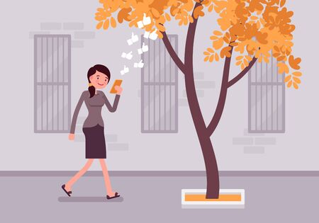 hook like: Woman walks with smartphone to bump into a tree. Cartoon vector flat-style concept illustration