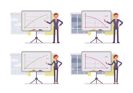 Man and woman points to positive and negative charts on the blackboard. Cartoon vector flat-style concept illustration Illustration
