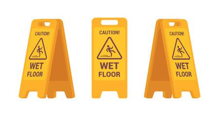 白い背景に対して隔離されるぬれた床を署名のセットです。漫画のベクトルのフラット スタイルの実例