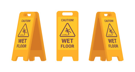 Set of wet floor sign isolated against white background. Cartoon vector flat-style illustration