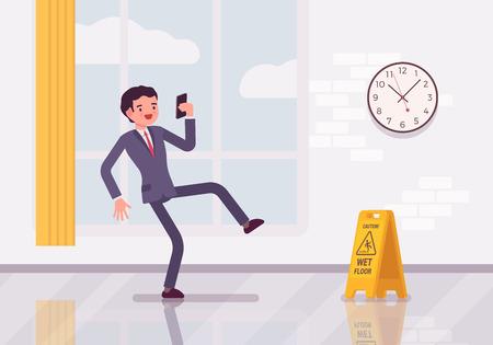 wet floor sign: Man with a smartphone slipps on the wet floor. Cartoon vector flat-style concept illustration Illustration