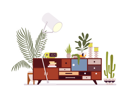 Retro interior with a sideboard bookcase against white background. Cartoon vector flat-style illustration Vectores