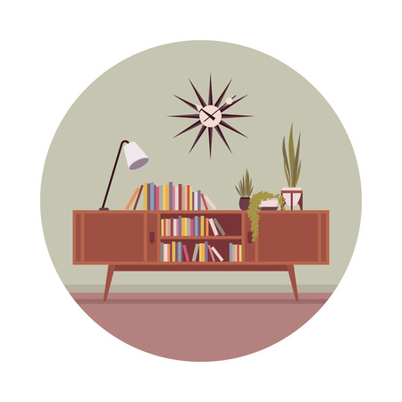 Retro interior with a credenza and table lamp in a grey circle. Cartoon vector flat-style illustration Illustration