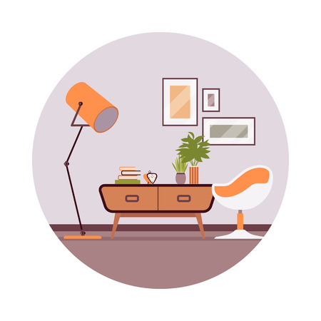 Retro interior with a sideboard bookcase, picture, ball chair in a grey circle. Cartoon vector flat-style illustration Illustration