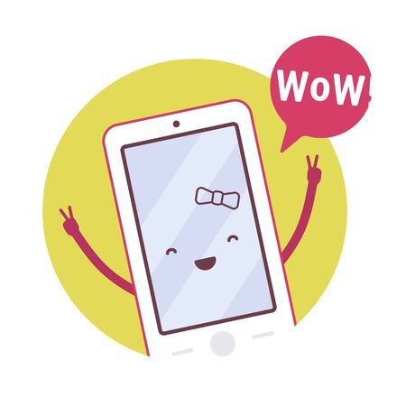 neighbourly: Smiling girl smartphone in a green circle, hands up, victory, wow. Cartoon vector flat-style concept illustration Illustration