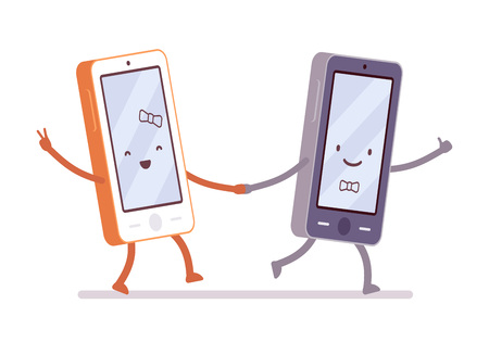 sociable: Boy and girl smartphones are walking hand in hand. Cartoon vector flat-style illustration