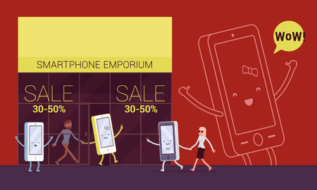 mart: Smartphone is pulling its owner to the emporium to shop. Cartoon vector flat-style concept illustration