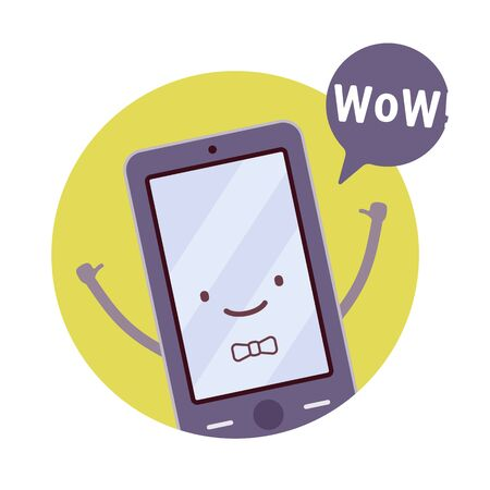 Smiling boy smartphone in a green circle, hands up, tumb up, wow. Cartoon vector flat-style concept illustration Illustration