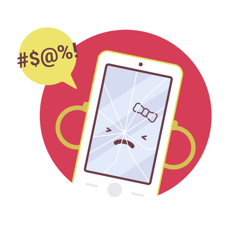 crack up: Broken angry girl smartpone in a red circle. Cartoon vector flat-style concept illustration
