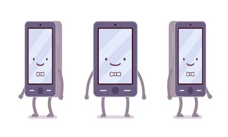 sociable: Smiling boy smartphone from different sides with legs and hands isolated against white background. Cartoon vector flat-style illustration