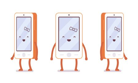neighbourly: Smiling girl smartphone from different sides with legs and hands isolated against white background. Cartoon vector flat-style illustration