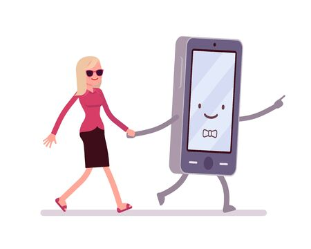 addicted: Smartphone and woman are walking hand in hand. Cartoon vector flat-style illustration