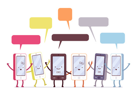 Group of happy smartphones, speech bubbles above. Cartoon vector flat-style concept illustration