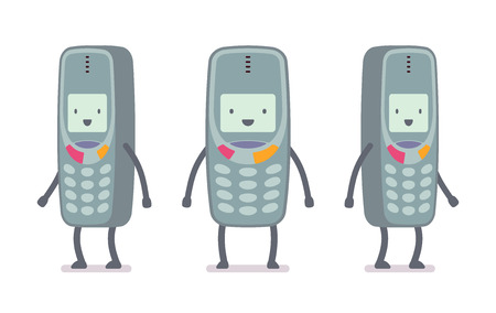 most popular: Happy retro cell phone from different positions with legs and hands isolated against white background. Cartoon vector flat-style illustration