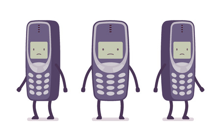 positions: Sad retro cell phone from different positions with legs and hands isolated against white background. Cartoon vector flat-style illustration