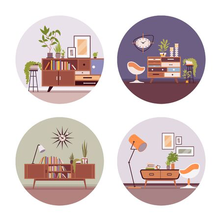 interiors: Se of retro interiors with a sideboard bookcase , ball chair, wallcloks, plants in a circle. Cartoon vector flat-style illustration