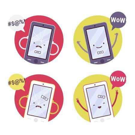 sociable: Set of smiling, broken girl and boy smartphones. Cartoon vector flat-style concept illustration