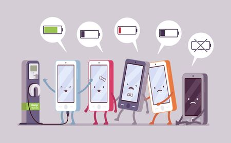 status: Smartphones are charging near the station in a line, battery status in a cloude. Cartoon vector flat-style concept illustration