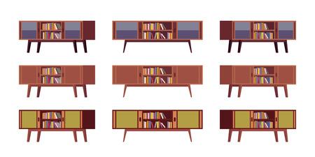 yearning: Set of retro credenzas with bookshelves isolated against white background. Cartoon vector flat-style illustration