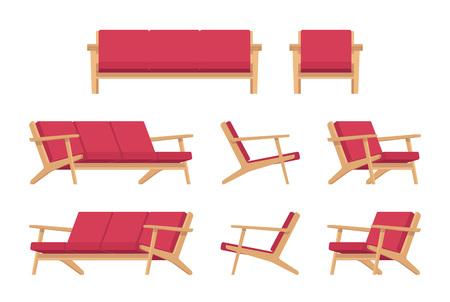 divan: Conjunto de diván rojo retro y butaca aislada contra el fondo blanco. Vector ilustración de dibujos animados de estilo plana