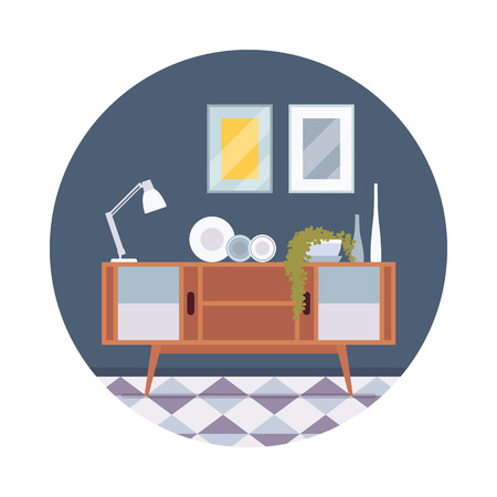 sideboard: Retro interior with a sideboard bookcase, pictures, lamp in a circle. Cartoon vector flat-style illustration