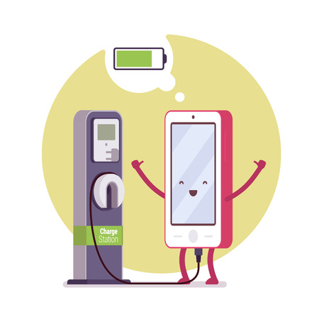 cloude: Charging smartphone near the station, battery status in a cloude. Cartoon vector flat-style concept illustration