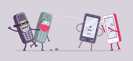 Teléfonos viejos luddites están atacando nuevos teléfonos inteligentes. vector de dibujos animados al estilo de ilustración del concepto plana