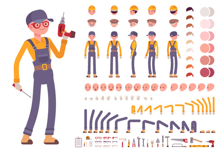 creation kit: Male construction worker creation set. Build your own design. Cartoon vector flat-style infographic illustration