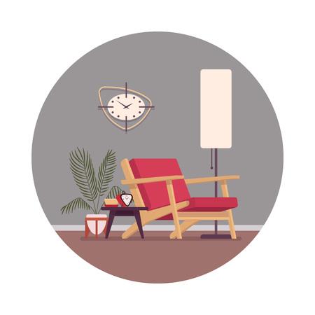housewarming: Retro interior in a circle with a divan, standing lamp, wallclocks. Cartoon vector flat-style illustration