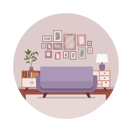 sideboard: Retro interior in a circle with a sofa, sideboard, pictures. Cartoon vector flat-style illustration