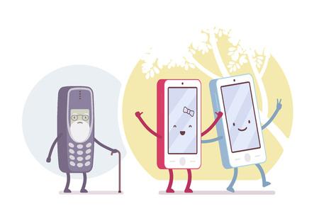Alte und neue Smartphone-Modelle im Kreis. Cartoon Vektor-flat-Stil-Konzept Illustration Vektorgrafik