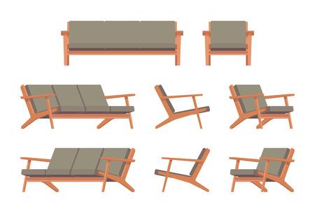 divan: Conjunto de diván verde retro y butaca aislada contra el fondo blanco. Vector ilustración de dibujos animados de estilo plana