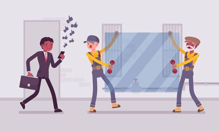 ring road: Man walks with smartphone to crash into a sheet of glass. Cartoon vector flat-style concept illustration Illustration