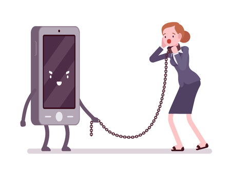 woman cell phone: Woman in a metall collar is slaved by her smartphone. Cartoon vector flat-style concept illustration