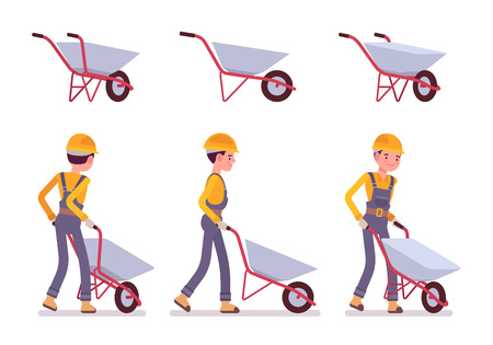 Set of wheelbarrow and builder isolated against white background. Cartoon vector flat-style illustration Illustration
