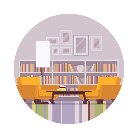 side table: Retro interior with boocase, lamp, table, armchair in a circle. Cartoon vector flat-style illustration