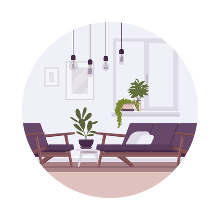 Retro interior with lamps, sofa, armchair, plants in a circle. Cartoon vector flat-style illustration Vectores